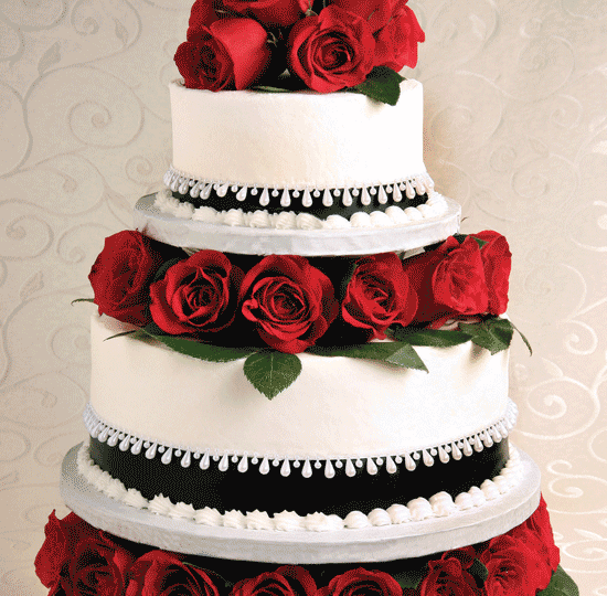 Wedding Cakes  Catering   Floral Services   Price Chopper Elegant Tiered cake w  Red Roses   black ribbon