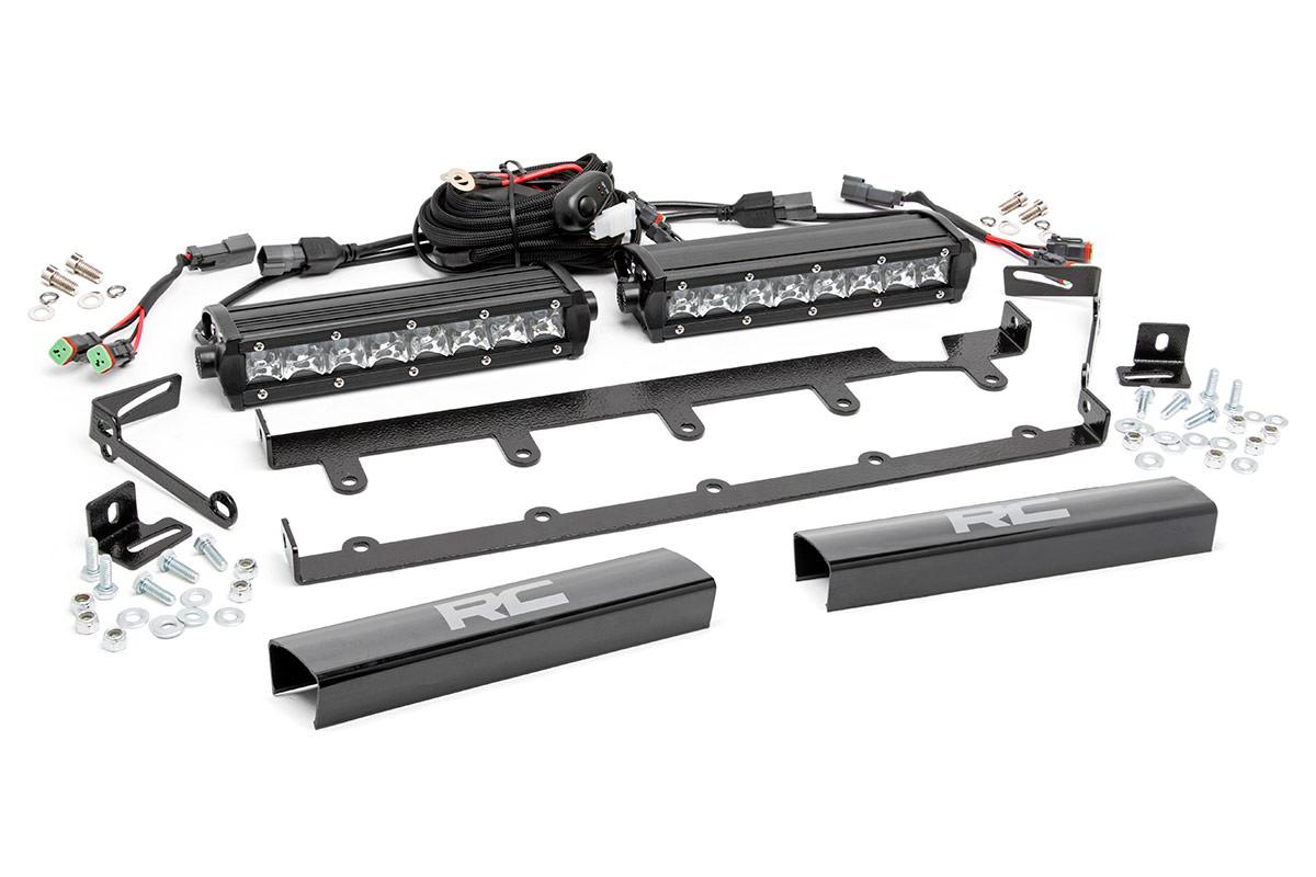 8 Inch Chrome Series Vertical Led Light Bar Grille Kit 2