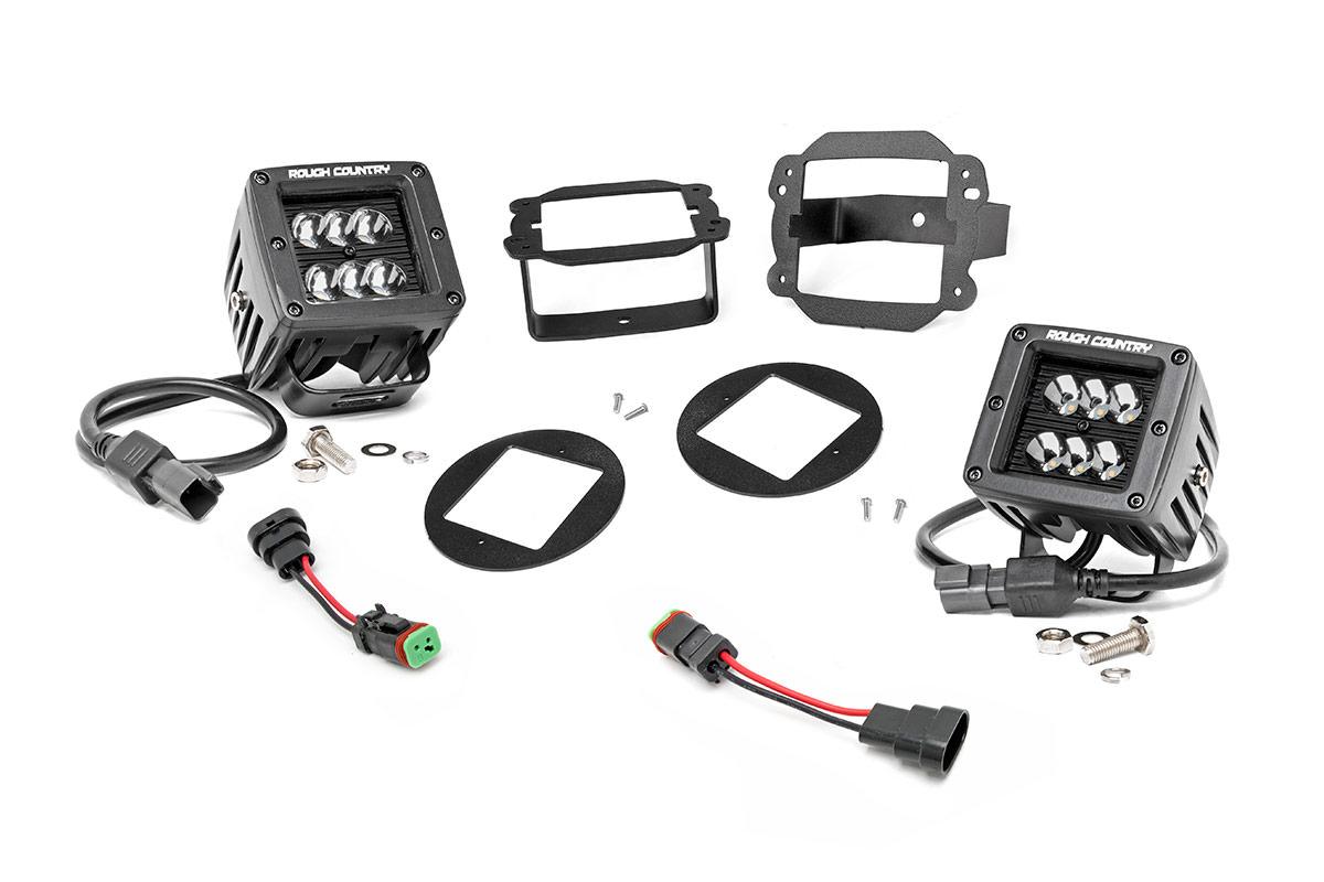 2 Inch Black Series Cree Led Fog Light Kit 10 18 Wrangler