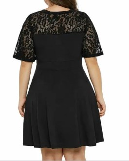 Dress-Lace Sleeve-Flare Skirt Mini-Plus Size 16/18