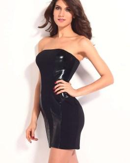 Dress-Strapless-Black Leather Panels-Mini
