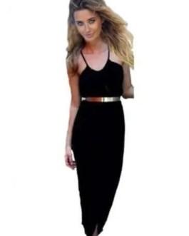 Sexy Wrap Black Dress With Belt Black-3XL-Plus Size Women