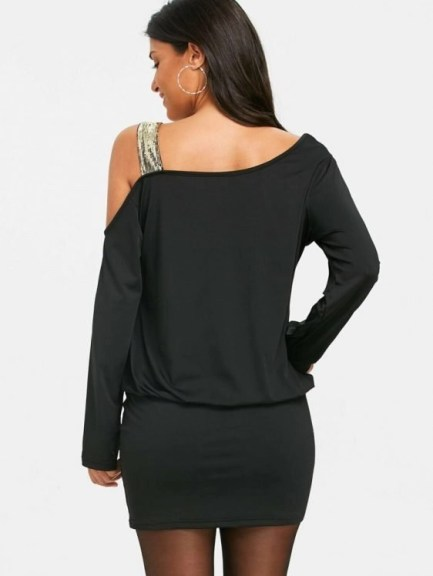 Sequins Long Sleeve Cold Shoulder Blouson Dress-XL