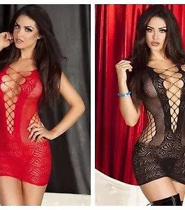 Sexy Crochet Mesh Mini Chemise Dress, Red or Black, One Size