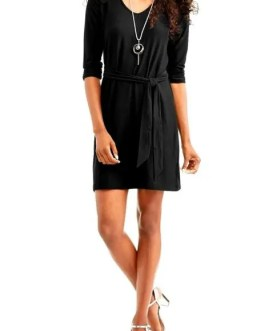 Lightweight 3/4 Ruched Sleeve Dress With V Neck In Above Knee Length