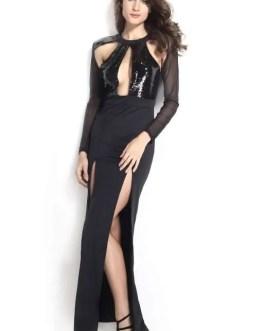 Women Maxi Dress Sequins,Sheer Mesh, Slit Legs, Black, Large-Formal