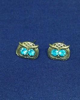 Bright Blue Rhinestone Owl Stud Earrings