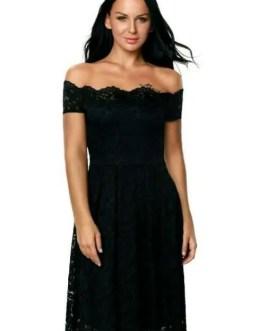 Plus Size Off The Shoulder Lace Fashion Dress-Women-XXL-3 Color Choices