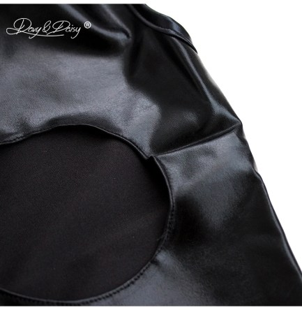 Leather look teddy open bust open crotch