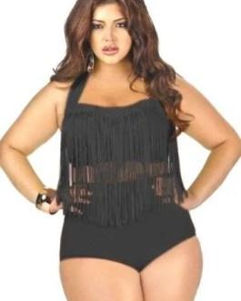 Plus Size 2-PC Fringe Swimsuit