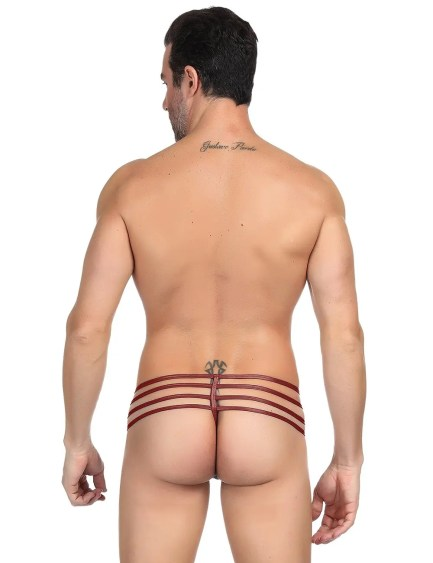 Men's Leather Multi Strap Pouch Thong