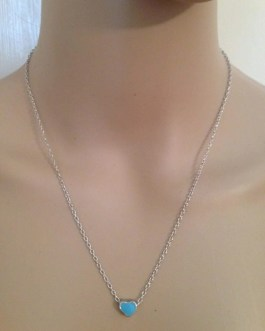 Small Heart Silver Tone Necklace in Pale Pink or Blue Enamel, 16″ Length Chain