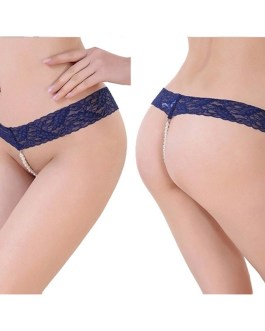 Stretch Lace and Pearl Bead Crotch Thong Panties in Many Colors