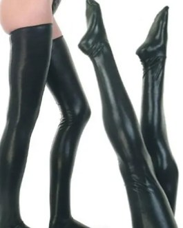 Shiny Leather Look Stockings With Matching G-String Panties