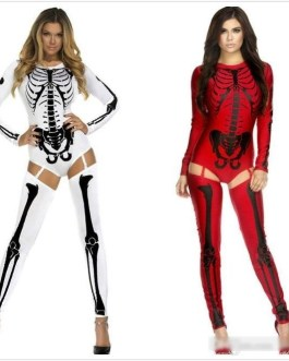 Bad To The Bone Skeleton Costume – Red or White – One Size