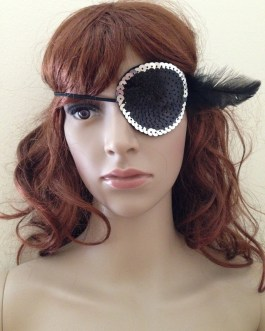 Sequin Eye Patch Costume Pirate Eye Patch With Feather Accent