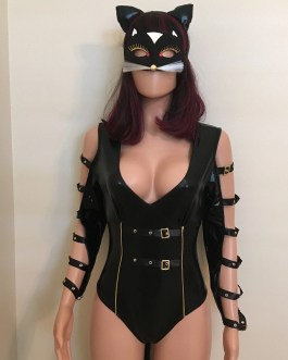 Sensuous 2Pc Adult Leather Look Catwoman Costume