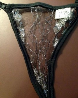 Sexy Back Black Lace G-String Panties
