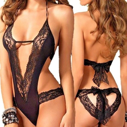 Sexy Sheer Lace Strap Teddy-Black