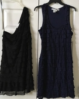 StudioM Sleeveless Dress With Cascading Layers 2 Color Choices