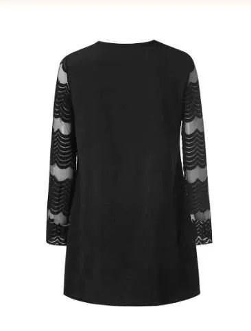 Sheer Chevron Sleeve Mini Dress Black