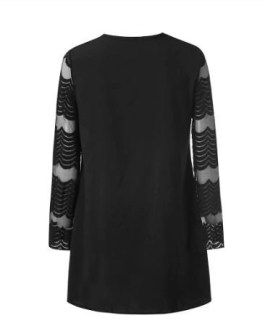 Plus Size Sheer Chevron Sleeve Mini T-Shirt Dress