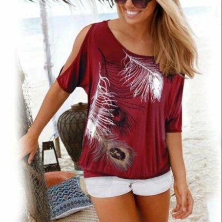 Cold Shoulder Women Tshirt Feather graphic