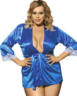 Ladies Short Satin Robe With White Lace Trim And Belt