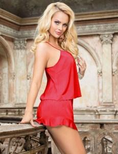 Racy Red Silky Pajamas
