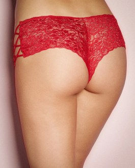 Floral Lace Sexy Red High Waist Panties With Side Lacing