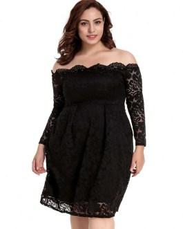 Plus Size Off The Shoulder Pullover Lace Dress