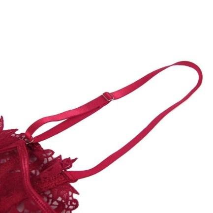 3pcs Elegant Embroidery Applique Lace Bra Panty Set With Underwire
