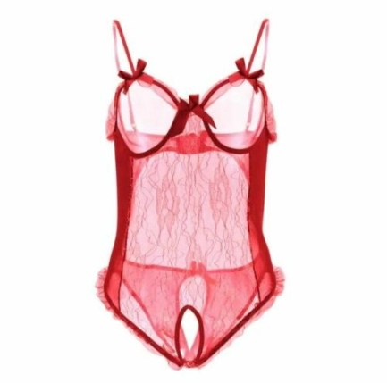 Sexy cut-out teddy with sheer silver threading front panel