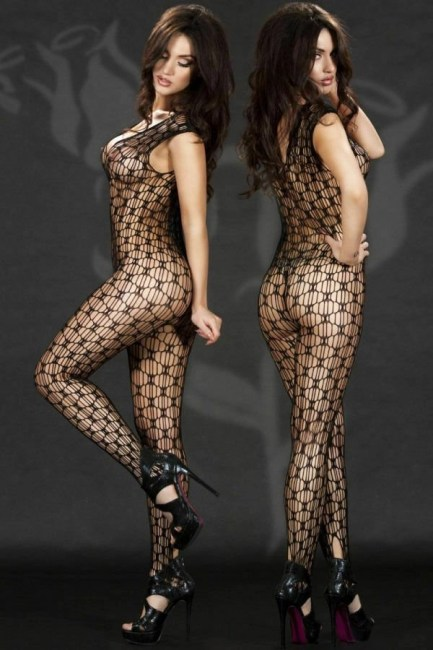 Net Bodystocking-One Piece-Pull On-Open Crotch