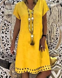 Bright Summer Yellow Linen & Cotton Short Sleeve Patio Dress