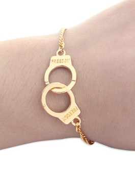 Handcuffs Bracelets Or Anklets In Gold Or Silver Tone