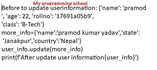 Python Dictionary update() method