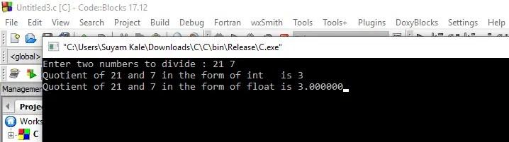 C Datatypes Program Output