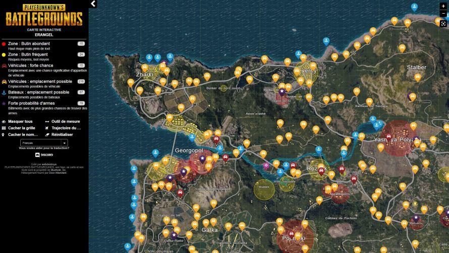 Carte Interactive Player Unknowns battlegrounds PUBG