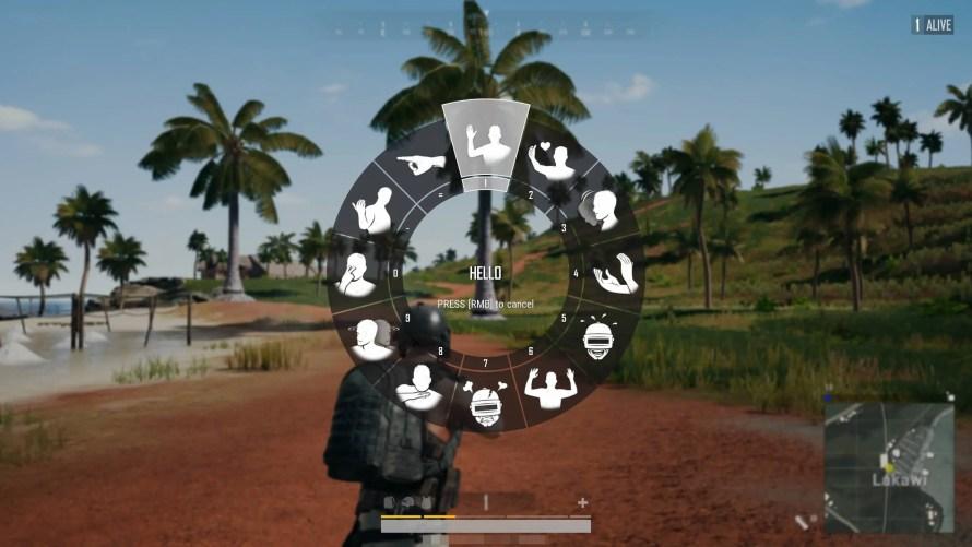 Aperçu du menu de sélection rapide des animations de personnages