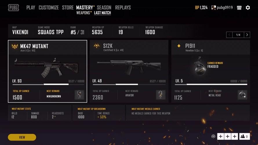 Progression dans la maîtrise des armes