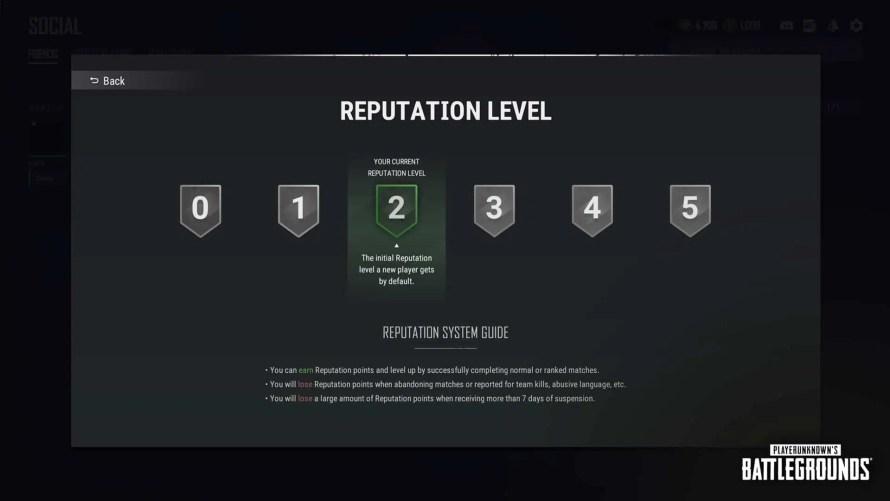 niveau de réputation PUBG