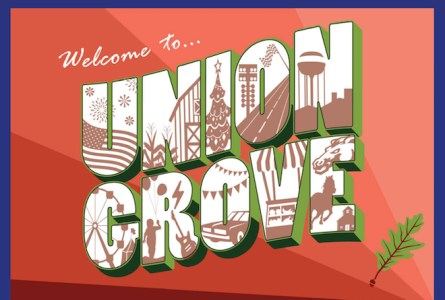 This is a rendering of a mural that is proposed for the side of a building at 1401 Main St., Union Grove. The project, spearheaded by Leadership Union Grove, is intended to welcome visitors to the village.