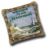 Needlepoint Throw Pillow - Welcome to Our Beach House - 14 x 14