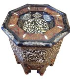Moroccan Octagonal End Table Silver Metal Camel Bone & Henna Arabic Furniture