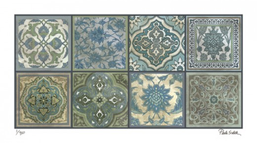 From allposters: With similar patterns and scale, the many decorative elements add together to create a densely detailed group of tiles that typify the way even every day things are full of artistic interest.