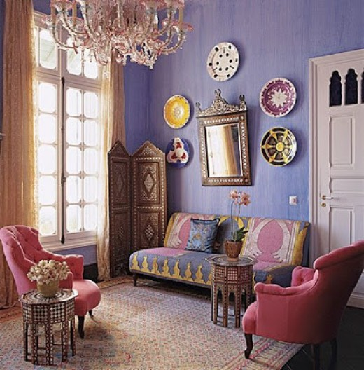 soft violet, peony pink,, and clear gold combine to make a color scheme that is rich and appealing.