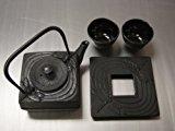 Square Cast Iron Tea Set Dragonfly Black #ts6-06bk