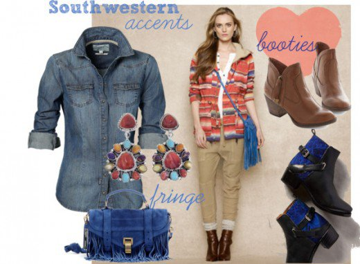 Keep the denim shirt, purse, and wear with blue jeans. The booties are still in fashion, as well as the jewelry.