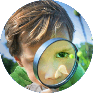 discovery with magnifying glass
